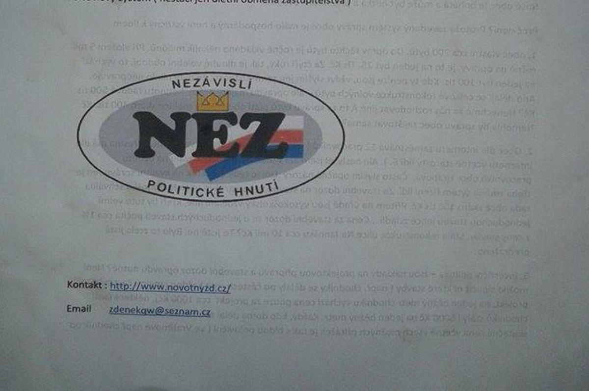 Leták: Souvislosti se správou obce Ostrava Hrabová