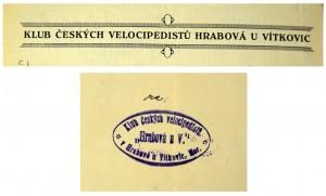 Záhlaví korespondenčního papíru Klubu českých velocipedistů v Hrabové u Vítkovic a jeho razítko, z dokumentů pocházejících z 20. let 20. stol.