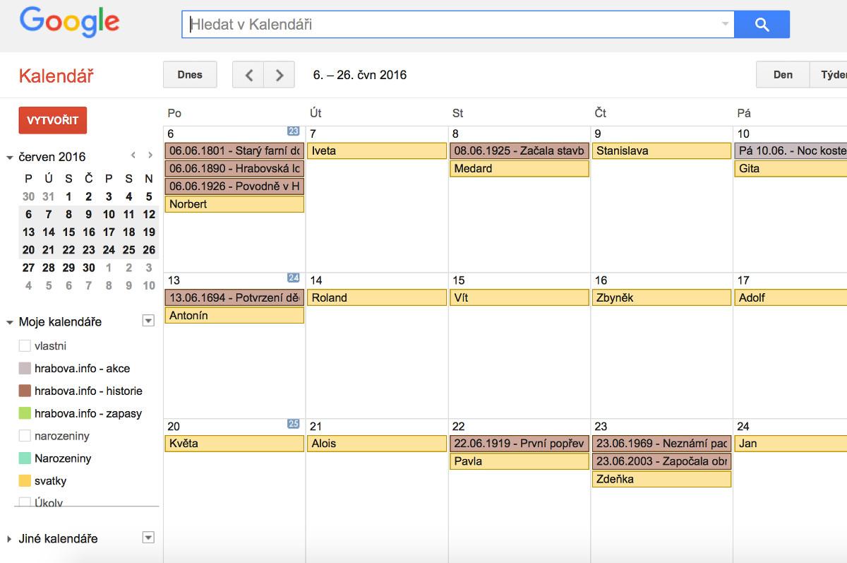 Do kalendáře byly přidány termíny tradičních akcí pořádaných na území Hrabové