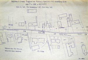 Situační zákres nehody ze 7. dubna 1932. Foto: Archiv Vítkovice, a. s.