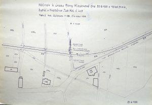 Situační zákres nehody tramvaje a cyklistky z 20. června 1933. Foto: Archiv Vítkovice, a. s.