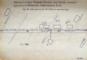 Náčrtek nehody tramvaje a cyklisty z 1. srpna 1934. Foto: Archiv Vítkovice, a. s.
