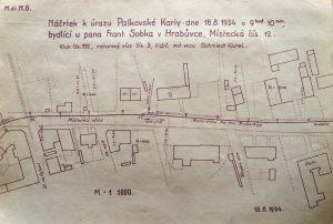 Náčrtek nehody chodce a tramvaje z 18. srpna 1934. Foto: Archiv Vítkovice, a. s.