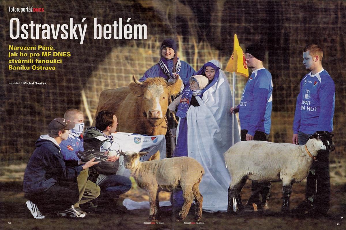Na hřišti Sokola Hrabová vznikl Betlém pro MF DNES 2003