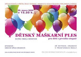 Dětský maškarní ples pro žáky zprvního stupně – 29.2.2020