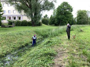 (FOTO) Odborná firma pokosila trávu vŠídloveckém potoce