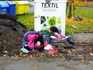 Hrabová: Občané zokolí kontejneru na textil žádají ojeho přesun jinam