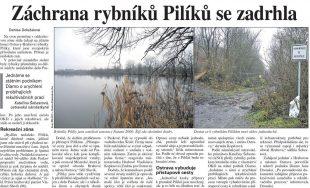 Deník PRÁVO: Záchrana rybníků Pilíků se zadrhla