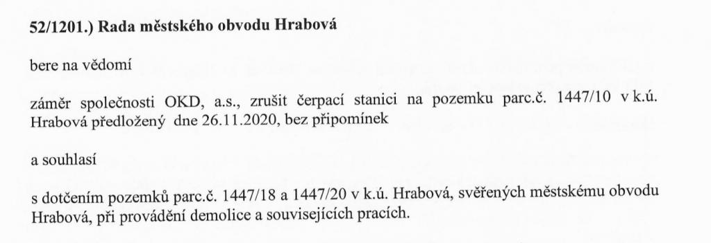 Rozhodnutí rady, jedná se však o stanici na Paskovské ulici