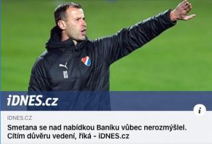Ondřej Smetana se stal trenérem ostravského Baníku