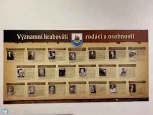 Chodbu úřadu zdobí panel sinformacemi ovýznamných osobnostech Hrabové