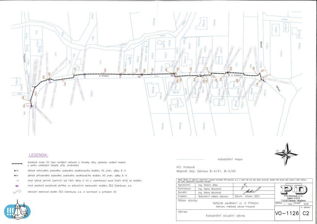 Situační mapka navrženého veřejného osvětlení