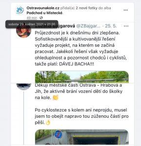 Předmětná diskuze mezi Ostravakem na kole a náměstkyní primátora