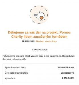Vybraná částka 3800 Kč byla na účet Diecézní charity Brno