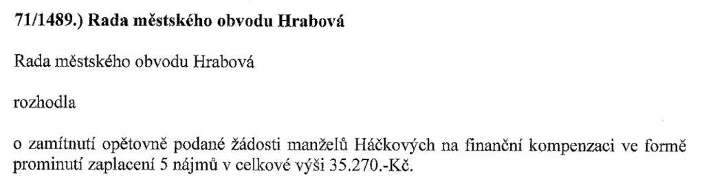 Snímek zápisu z jednání rady (14.7. 2021)